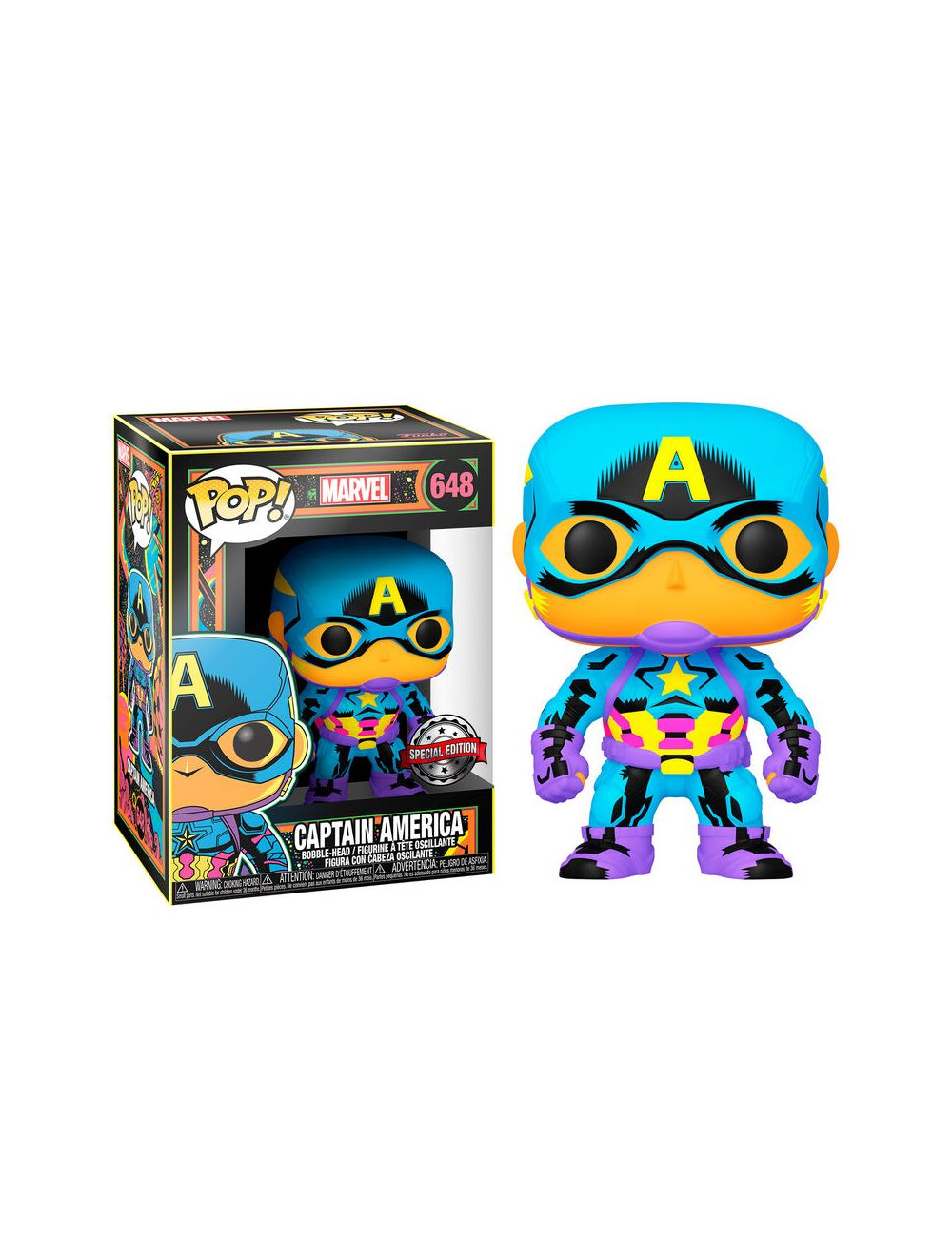 Funko POP! Marvel Black Light Captain America Exclusive Vinyl Figura 10cm